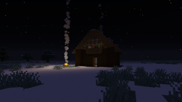 Minecraft House - Snowy Log Cabin