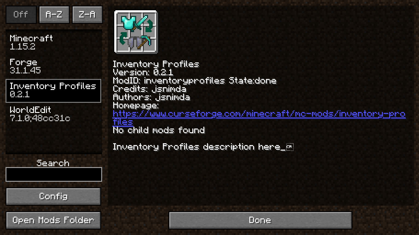 Inventory Profiles 1.16 Minecraft Mod – Better Inventory Organization